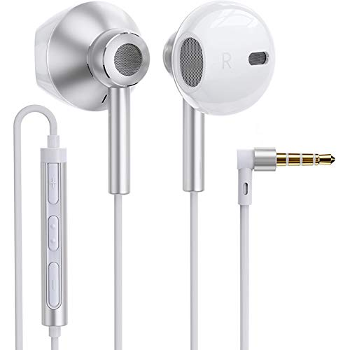 Linklike Quad Dynamic Drivers Air-flow Hi-Res Extra Bass Headphones Noise Isolating Wired Earbuds with Microphone, Lightweight Earphones with Volume Control 3.5mm Jack In-Ear Headphones (Silver/White)