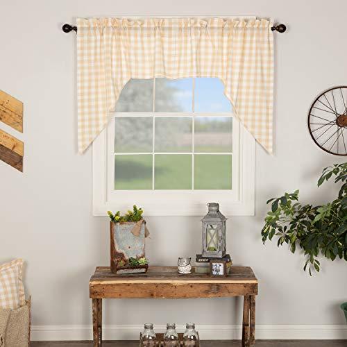 VHC Brands Annie Buffalo Check Kitchen Swag Set Farmhouse Cotton Window Treatment Curtain, 36x36x16, Tan