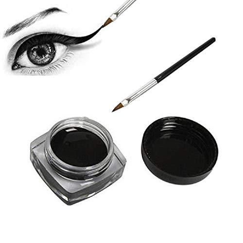 Wasserfester Eye Liner Make Up Gel Eyeliner mit Pinsel 2 Teilig Schwarz