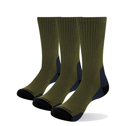 YUEDGE Men's 3 Pairs/Pack Thick Winter Work Boot Socks Comfy Cotton Cushion Crew Athletic Hiking Socks(Olive green, Size 6-9)