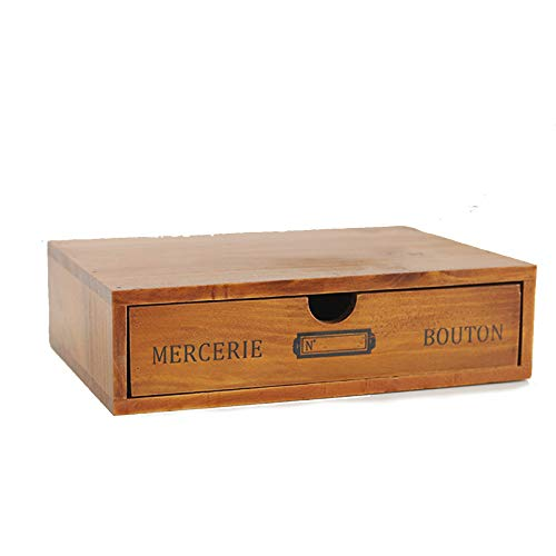 Madera Portátil Caja De Almacenaje Con Cajones,Durable Ahorro De Espacio Organizador De Gabinete De Escritorio,Grande Apilable Caja De Almacenamiento Para Home Office-Amarillo. 24.5x17.5x6.5cm
