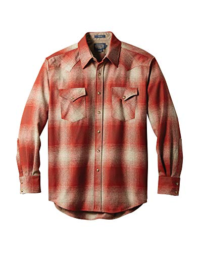 Pendleton Men's Long Sleeve Button Front Classic-Fit Canyon Shirt, Black Flannel-20042, MD