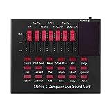 Console de Mixage Carte Audio en Direct Plusieurs Effets Sonores Audio Mélangeur Audio Changeur Vocal pour Stage Studio (Couleur : Black, Size : One Size)
