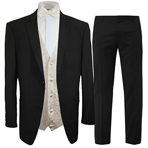 Paul Malone Anzug Hochzeitsanzug schwarz + Fliegen Hochzeitswesten Set Ivory + Hochzeitshemd weiß