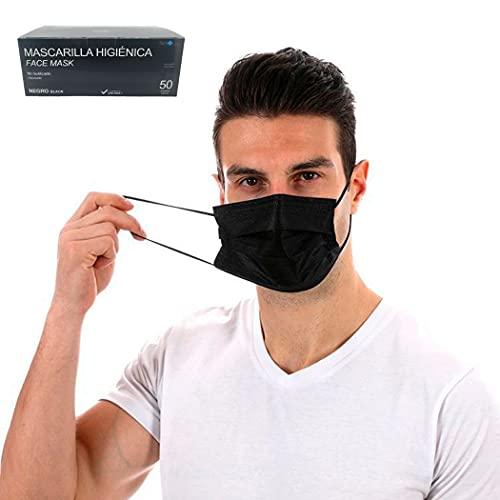 50 uds Mascarillas Negras Higiénicas | Homologadas en España | 3 capas (BFE>99%) | desechable - no Reutilizable | tamaño adultos