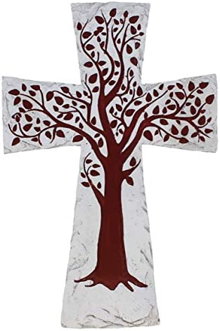 DeLeon Collections Rustic Faux Stone Red Tree of Life Wall Cross Decorative Spiritual Art Sculpture product image