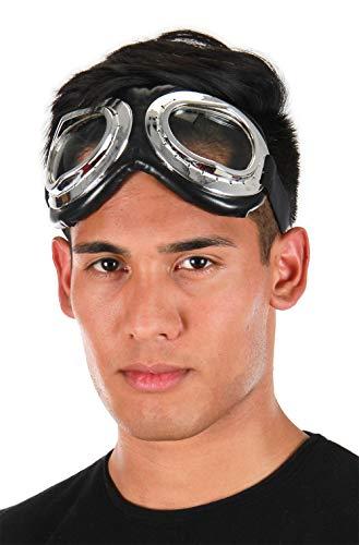 Aviator Retro Vintage Steampunk Costume Goggles Silver & Black