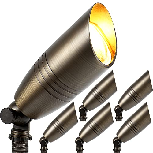 Elevens Solid Brass Uplight Spotlight Fixture Landscape Outdoor Lighting Waterproof with Ground Spike Stand 12v Low Voltage (6 Pack) (6 Pack)