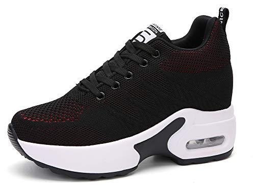 AONEGOLD Zapatillas de Deporte Transpirables Mujer Zapatillas de Cuña para Alta Talón Plataforma 8.5 cm Wedge Sneakers 2786 Negro Rojo 35 EU