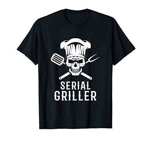 Homme Barbecue Sur Le Grill Drôle BBQ Serial Griller T-Shirt