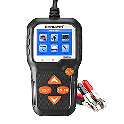 KONNWEI KW650 Car Battery Load Tester, MoreChioce 6-16V Universal Diagnostic Device Professional Auto Motorcycle Battery Detector Battery Charging Analyzer