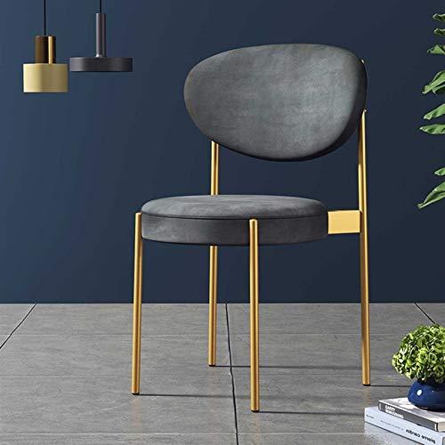Sillas de Comedor, sillones, sillas de Acento, con Patas de Silla de Metal, velvtos Suaves, Vintage (Color : Gris)