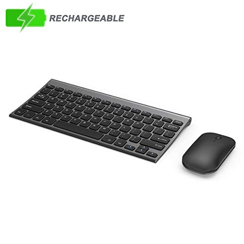 Rechargeable Wireless Keyboard Mouse, Seenda Ultra Slim Small Keyboard and Mouse with Keyboard Dust Cover for Windows Devices, Space Gray