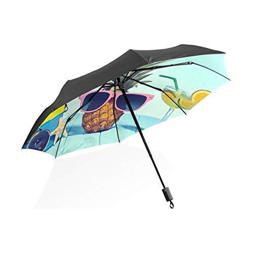 XiangHeFu Paraplu Ananas Zonnebril Cocktail 3 Vouwen Lichtgewicht Anti-UV