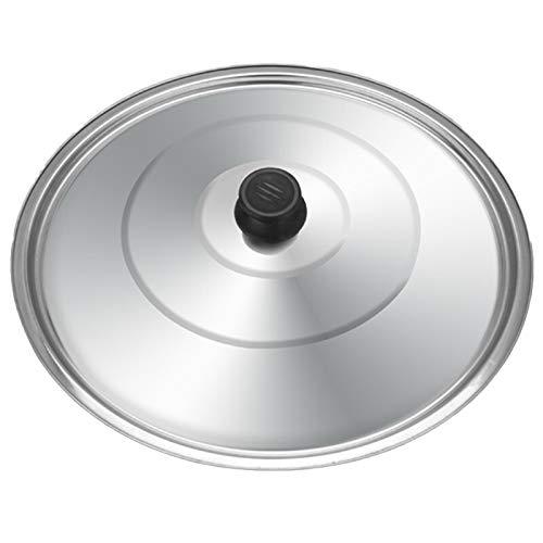 Cubierta plana Wok Tapa de utensilios de cocina de acero inoxidable redondo Tapa de vidrio de acero inoxidable para freying sartén cacerola cocinar olla wok wok con pomo cocina comida tapa