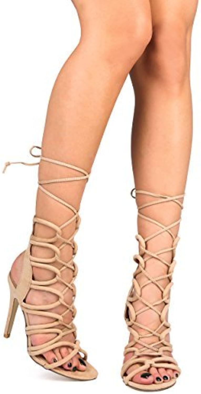 Wild pink Women Suede Open Toe Loop Gladiator Wrap Stiletto Sandal DG09