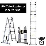 Rendio 5M Alu Teleskopleiter Klappleiter Ausziehleiter Mehrzweckleiter Anlegeleiter aus hochwertigem