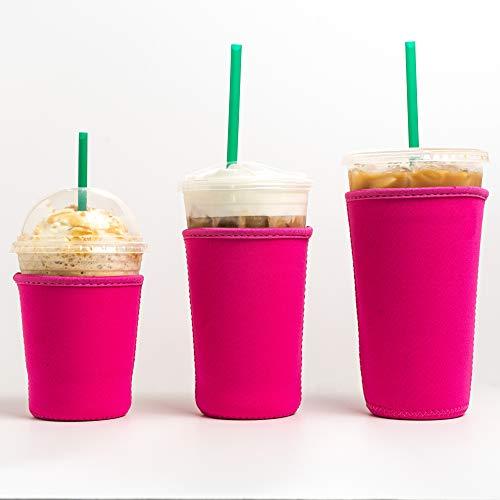 Wiederverwendbare, isolierte Neopren-Becherhalter für Eiskaffee, Getränkehalter für Starbucks-Kaffee, McDonalds, Dunklin-Donuts, Tim Hortons und mehr, Pink, 3 Stück