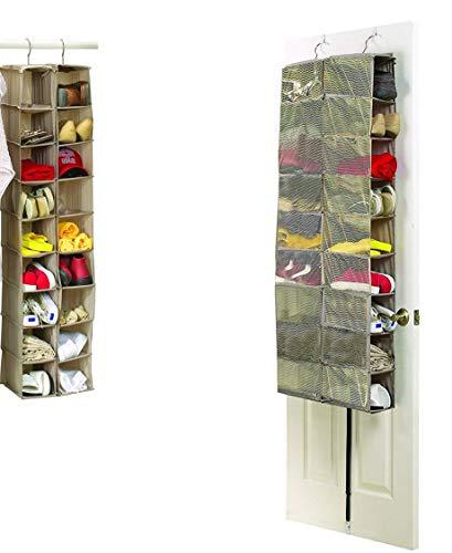 Brilliant Feet Zapatero Colgante con 18 Compartimentos (Lona Oxford 600 D, Medidas: 34 x 138 x 30 cm o 60 x 138 x 17 cm)