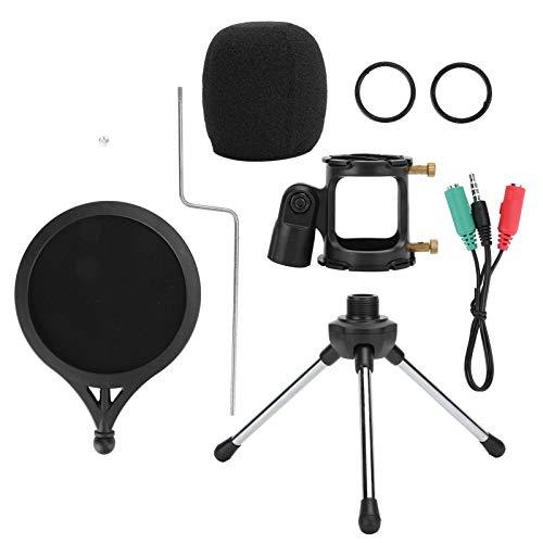 Zhat Micrófono portátil de tamaño pequeño, Kit de micrófono liviano y Duradero, para Estudio de transmisión de Voz en Vivo Estudio de transmisión Estudio de grabación