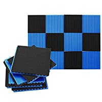 吸音対策 吸音材 吸音スポンジ 消音 騒音 防音 吸音綿 難燃性 黒 青色 24枚セット 30x30x2.5cm