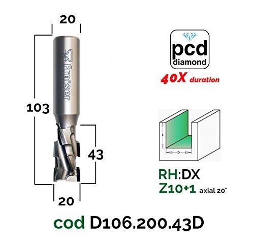 Holz Fräse für Oberfräse Industrielle PKD Diamantfräser mit 20°-Axialschneiden - D 20 / I 43 / S 20 - Fraiser