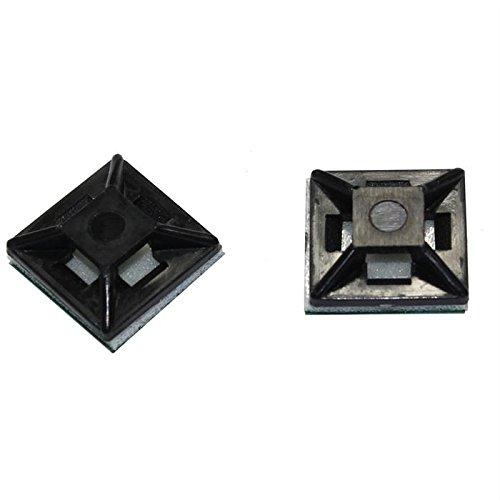 100x Klebesockel für Kabelbinder 12,5x12,5mm selbstklebend ; Schwarz