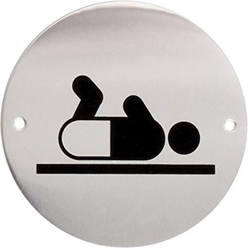 iGadgitz Home U7033 - Targa Bagno Pittogramma Toilette WC Targa Alluminio, Pittogramma Adesivo per Porta Toilette, Bagno, Lavamani, Spogliatoio, Servizi Igienici - Argento con Logo Nero - Fasciatoio
