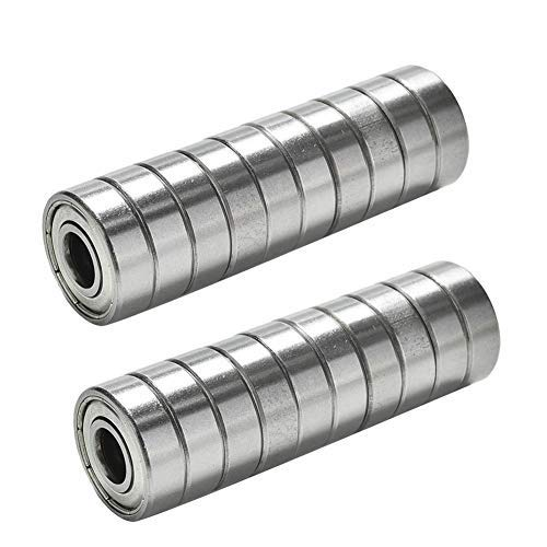 608ZZ 8 x 22 x 7 mm Deep Groove Ball Bearing, 20 Pcs Double Metal Shielded, Fit for Skateboard Bearings, 3D Printer RepRap Wheel, Longboard, Roller Skates, Inline Skates, Scooters etc. (Pack of 20)