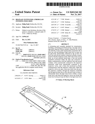 Drainage system for a fiberglass swimming pool body: United States Patent 9822541 (English Edition)