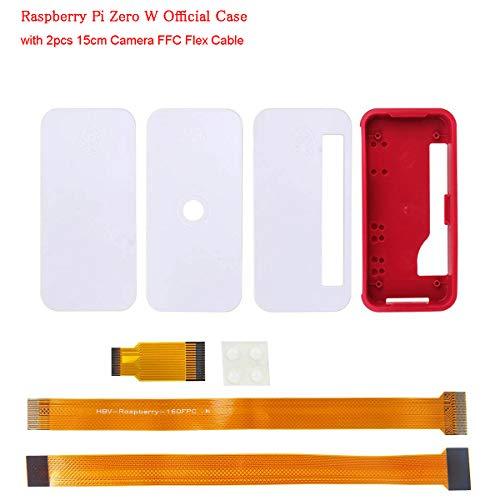MakerHawk Raspberry Pi Zero W Fall Neu, RPI Zero ABS Box Cover Shell-Gehäuse (einfach, für GPIO und Kamera) Kompatibel für Raspberry Pi Zero V1.3 Pi0 mit 2 Stück 15cm Kamera-FFC-Flexkabel