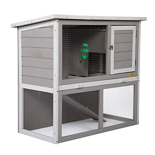 JAXPETY 2-Tier Wood Rabbit House Cage Backyard Garden Duplex Hutch for Small Animal Pet w/Sloped Weatherproof Roof, Ramp, Tray, Water Bottle Safe, Indoor Outdoor (Gray + White)