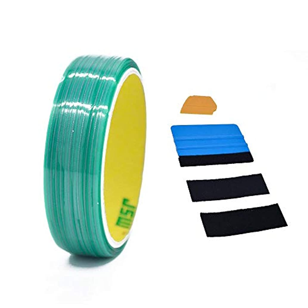 Knifeless Tape Design Line Finish Line Vinyl Warp Cutting Tape - 50M/164 FT with Toolkit (Blue Applicator Squeegee, Yellow Detailed Squeegee Black Felt Edge Decals)
