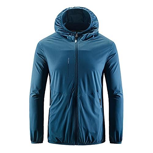 Senderismo impermeable chaqueta hombres camping lluvia abrigo secado rápido caza ropa anti, azul, XXXL