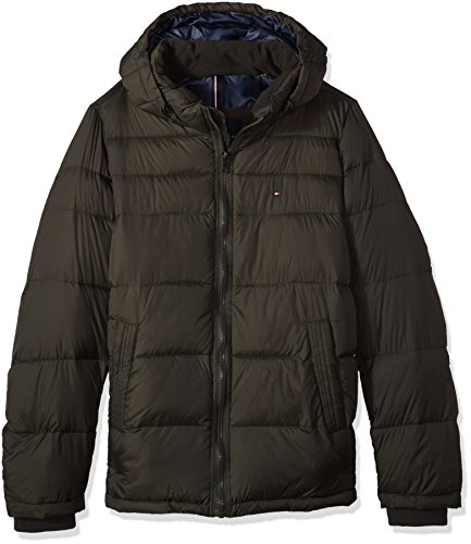 Tommy Hilfiger Men's Big Tall Insulated Midlength Quilted Puffer Jacket with Fixed Hood, Olive, 3X-Large