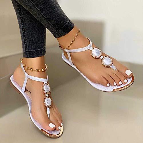 LCCYJ Sandalias Planas Verano Mujer Estilo Bohemia Zapatos para Mujer de Dedo Sandalias,01,41
