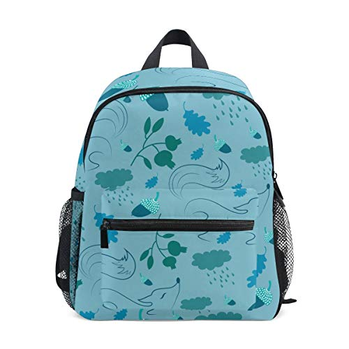 Fox Flower Toddler Backpack Bookbag Mini Shoulder Bag for 1-6 Years Travel Boys Girls Kids with Chest Strap Clip Whistle