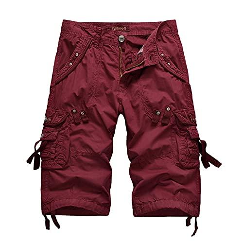 MEALLING Herren Cuba Chino Shorts mit Taschen, Regular Fit Gürtel Bermuda Kurze Hose Sommer Short Vintage Cargohose Used Look,Cargo Shorts Jogging Atmungsaktive Sporthose