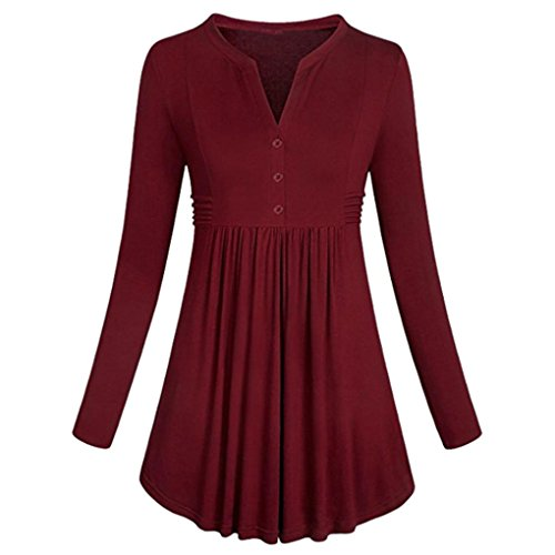Lightning Deals V-Neck Tunic Top,ZYooh Women Long Sleeve Loose Mandarin Collar Shirt Pleated Button Flare Hem Tunic Tops (Red, M)