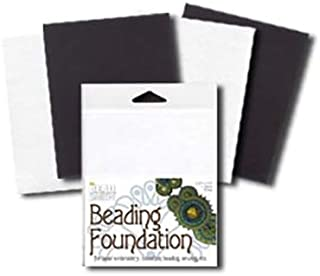 Beadsmith Beading Foundation - For Embroidery Work - Black and White 5.5x4.25 In. (2 of Each Color)