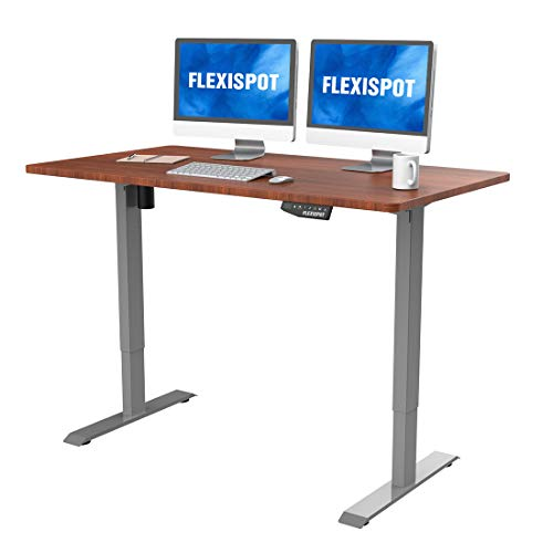 FlexiSpot EN1S-R5528N Electric Height Adjustable Desk, 55 x 28 Inches, Home Office Sit Stand Up Desk(Gray Frame +55 inch Mahogany Top)
