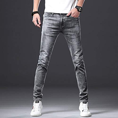 N-B Pantalones Vaqueros para Hombre Pantalones Casuales elásticos de Moda Pantalones de Pierna Recta Ajustados