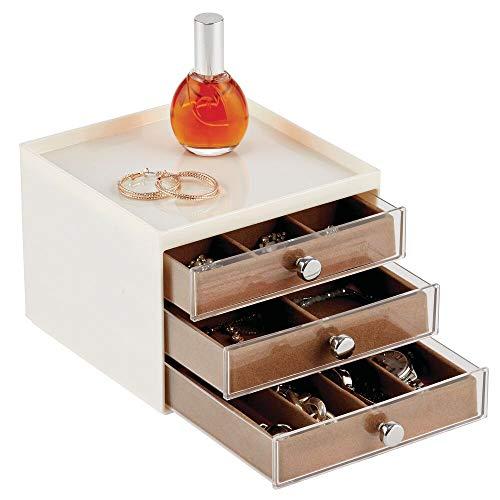 mDesign Organizador de joyas – Joyero organizador con tres cajones para pendientes, collares, anillos y pulseras – Cajas para joyería pequeñas de plástico – crema/marrón