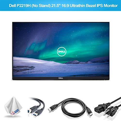 Dell P2219H 21.5-Inch 16:9 Ultrathin Bezel IPS Monitor No Stand (P2219HNS) with Microfiber Cleaning Cloth - 1 - Pack