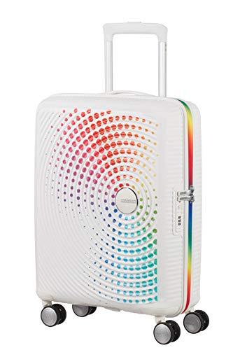 American Tourister Soundbox - Spinner S Handgepäck, 55 cm, 32.5 L, Weiß (Regenbogenpunkte)