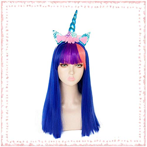 My Little Pony Unicorn Twilight Sparkle Long Straight Royal Blue Synthetic Cosplay Wig with Rainbow Bangs(Only wig) KUYB4509