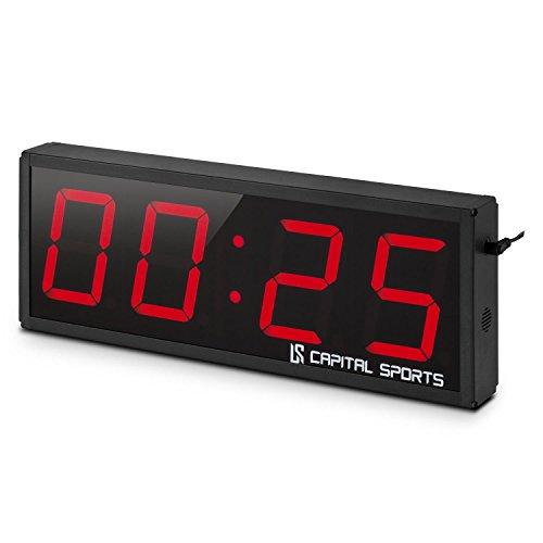 Capital Sports Timeter 2.0 cronometro Digitale (Timer Sportivo, Montaggio a Parete, 4 cifre a LED Rossi, Segnale Acustico, 3 modalità preimpostate, contagiri programmabile, Telecomando) - Nero