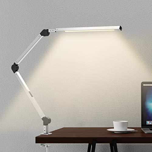 デスクライト JOLY JOY アームライト LED デスクスタンド クランプ付き 平面発光 調光 調色 省エネ 電気スタンド タイマー、メモリ、タッチセンサー 折りたたみ式 視力ケア テーブルランプ 卓上ライト シルバー