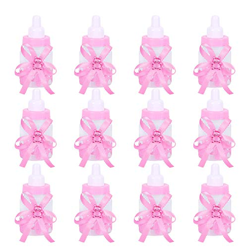 Cute Baby Shower Favors, 24Pcs Food Grade Plastic Candy Bottle for Baby Shower, Party décor, Baby Baptism Party (Pink ping qi)