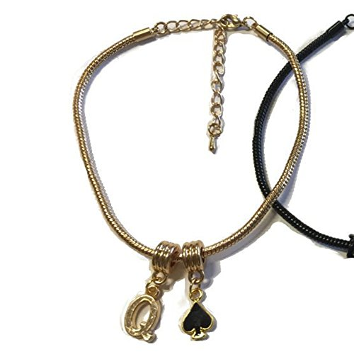 Alternative Intentions Q Spade (Queen of Spades) Charm Anklets in Black Silver and Gold - Hotwife - Cuckoldress (Gold)